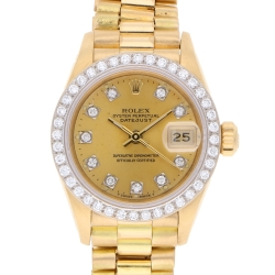 Rolex Datejust Goldbanduhr mit Brillanten in 750er Gelbgold